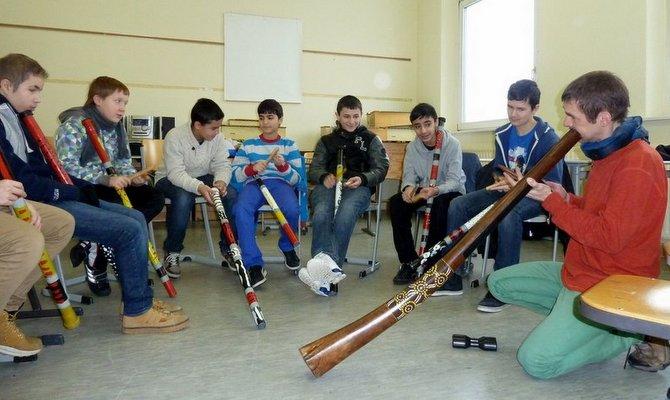 Didgeridoo Schulprojekt bei Marc Miethe